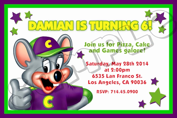 Chuck E Cheese Party Invitation New Chuck E Cheese Invitation Chuck E by Preciouspartyinvites