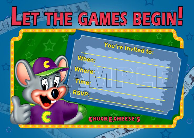 Chuck E Cheese Party Invitation New Chuck E Cheese S Birthday Invitation Instant Download