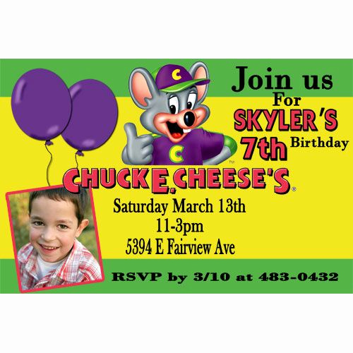 Chuck E Cheese Party Invitation Unique Chuck E Cheese Birthday Invitation Green