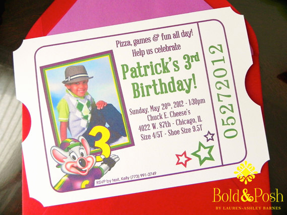 Chuck E Cheese Party Invitation Unique Chuck E Cheese Birthday Invite by Boldandposh On Etsy