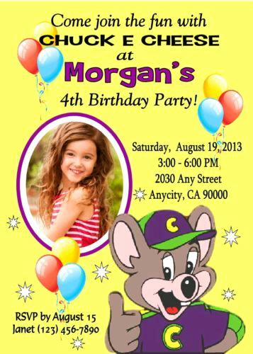 Chuck E Cheese Party Invitation Unique Chuck E Cheese Birthday
