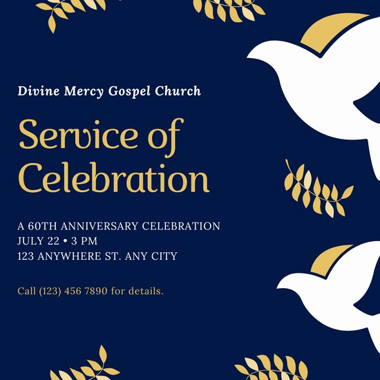 Church Anniversary Invitation Cards Awesome Customize 37 Church Invitation Templates Online Canva
