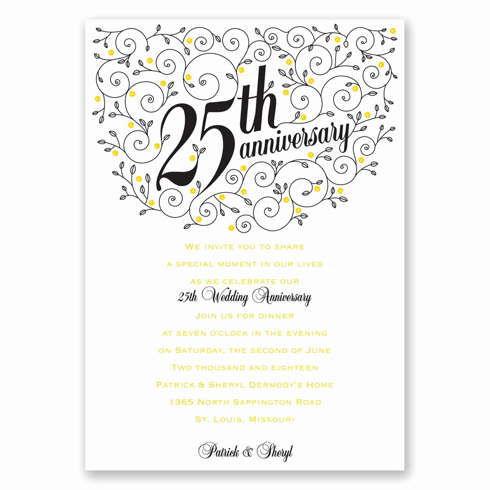 Church Anniversary Invitation Cards New forever Filigree 25th Anniversary Invitation