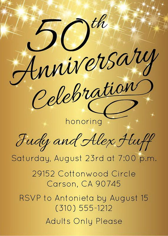 Church Anniversary Invitation Cards Unique 50th Anniversary Invitation Gold Party Invite by