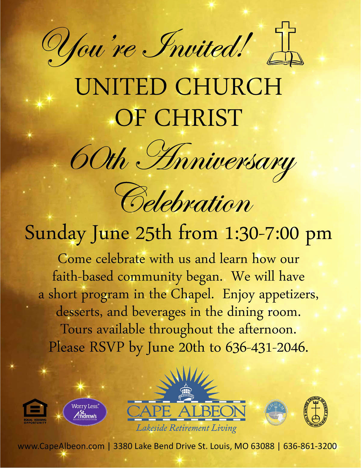 Church Anniversary Invitation Cards Unique United Church Christ 60th Anniversary Celebration