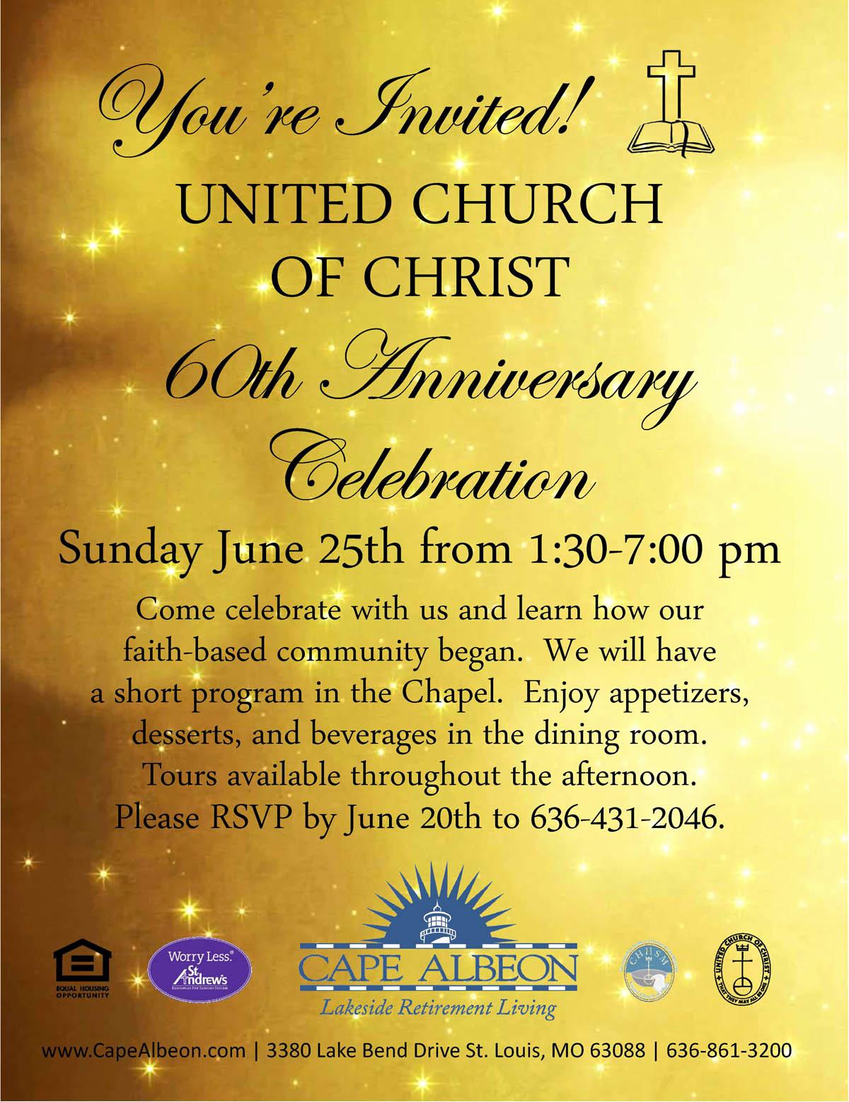 Church Anniversary Invitation Cards Unique United Church Christ 60th Anniversary Celebration