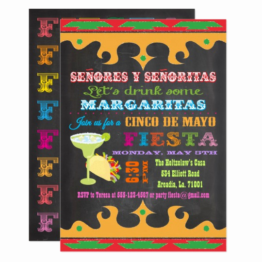 Cinco De Mayo Invitation Awesome Chalkboard Fiesta Tacos and Tequila Invitation