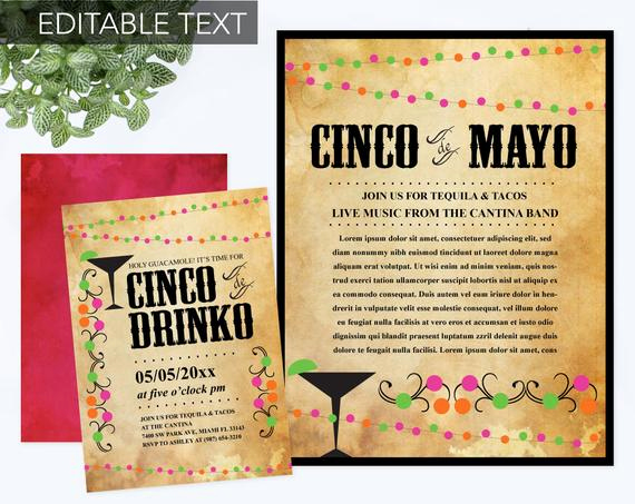 Cinco De Mayo Invitation Awesome Instant Download Cinco De Mayo Invite with Free Flyer