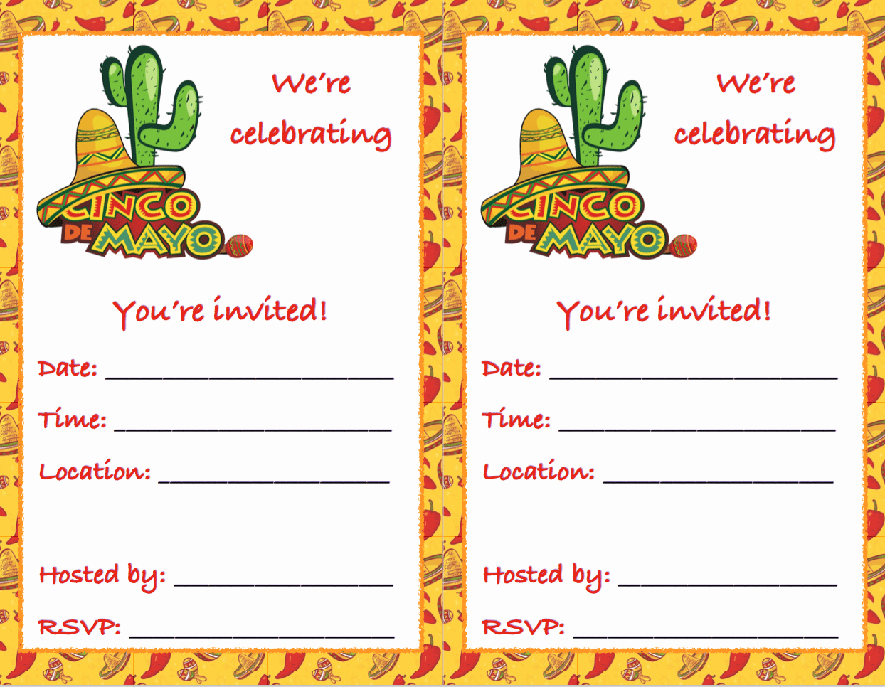 Cinco De Mayo Invitation Best Of Free Printable Cinco De Mayo Invitations 2 Different