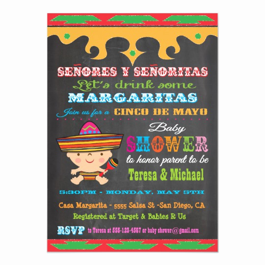 Cinco De Mayo Invitation Elegant Chalkboard Cinco De Mayo Baby Shower Invitations
