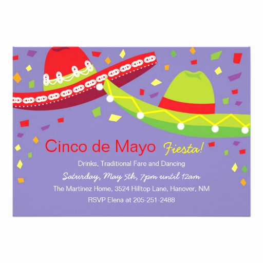 "Cinco De Mayo Invitation Elegant Cinco De Mayo sombrero Fiesta Invitations 5"" X 7"