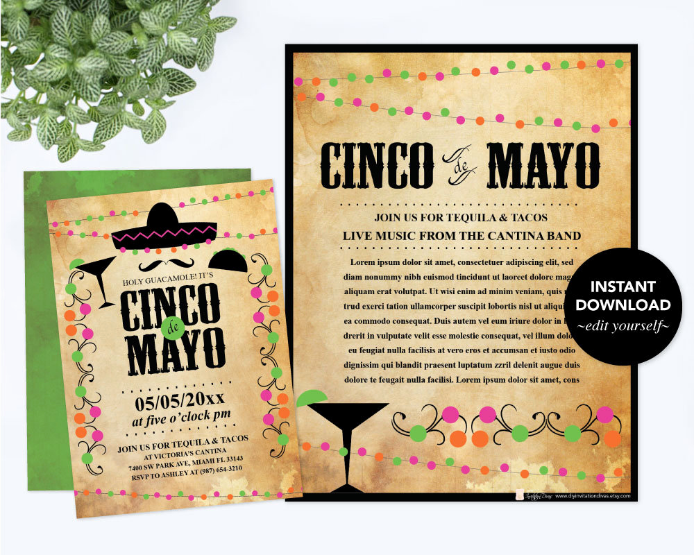 Cinco De Mayo Invitation Luxury Editable Text Cinco De Mayo Invitation with Free Flyer