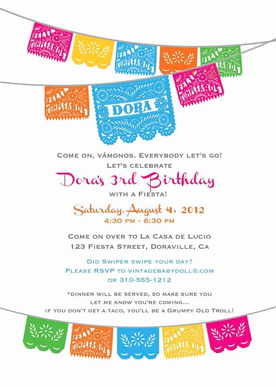 Cinco De Mayo Invitation Template Beautiful Dora Birthday Fiesta Invitation Cinco De Mayo I Design
