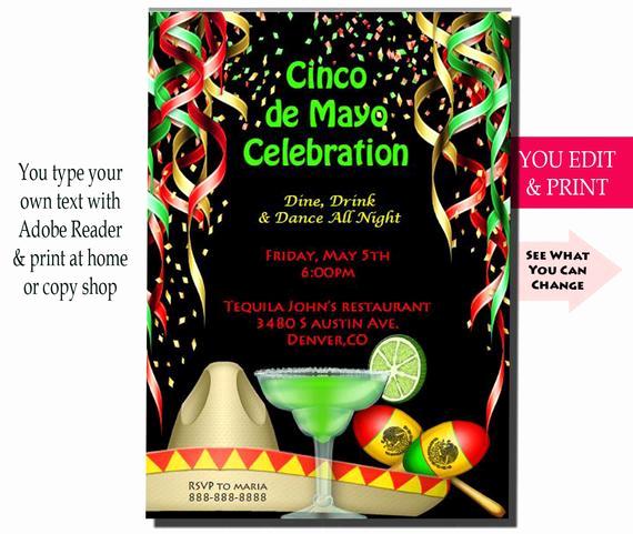Cinco De Mayo Invitation Template Elegant Cinco De Mayo Invitation Cinco De Mayo Party Invitation