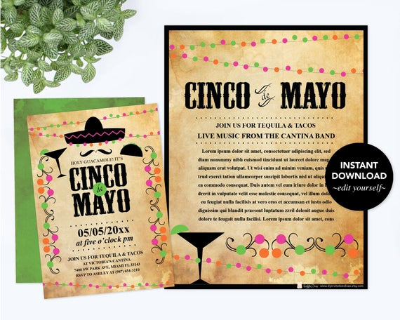 Cinco De Mayo Invitation Template Elegant Editable Text Cinco De Mayo Invitation with Free Flyer Fiesta