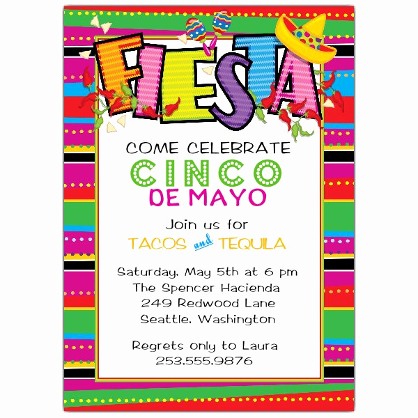 Cinco De Mayo Invitation Template Fresh Fiesta Cinco De May Invitations