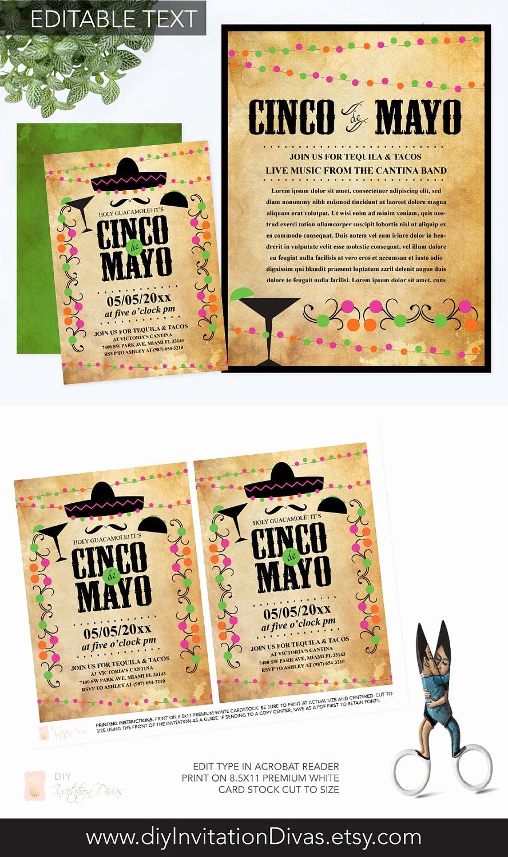 Cinco De Mayo Invitation Template New Editable Text Cinco De Mayo Invitation with Free Flyer Fiesta