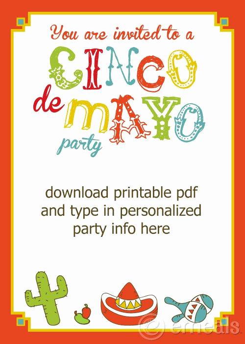 Cinco De Mayo Invitation Template Unique Printable Cinco De Mayo Invitations
