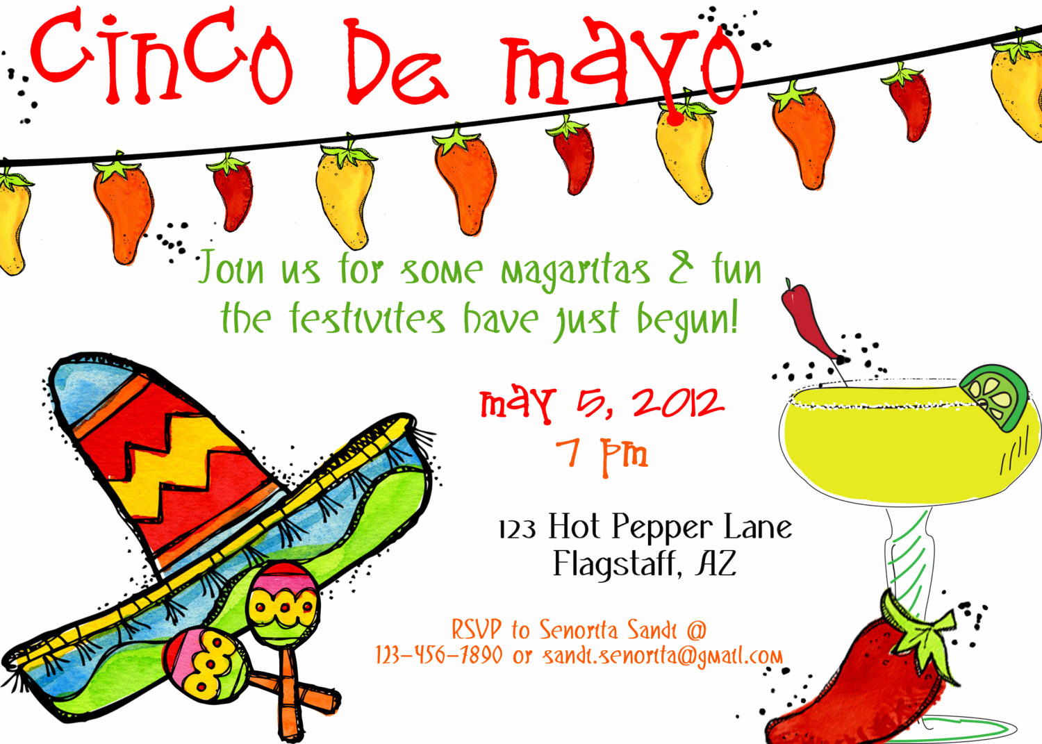 Cinco De Mayo Invitation Wording Awesome Printable Cinco De Mayo Party Invite Printable by Luvbugdesign
