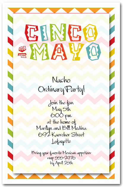 Cinco De Mayo Invitation Wording Elegant Cinco De Mayo Chevron Party Invitations
