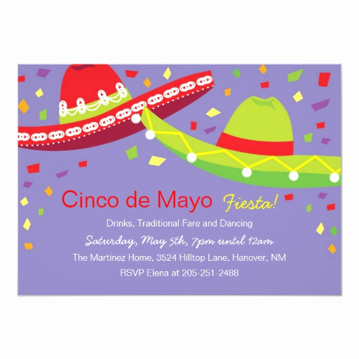 Cinco De Mayo Invitation Wording Lovely Cinco De Mayo sombrero Fiesta Invitations