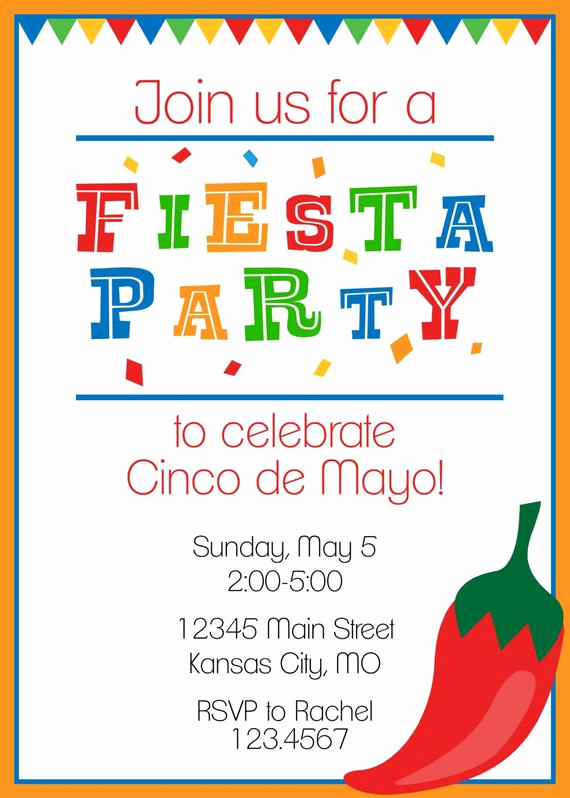 Cinco De Mayo Invitation Wording Lovely Fiesta Party Invitation Cinco De Mayo