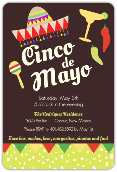 Cinco De Mayo Invitation Wording New Fiesta Confetti and Flags Cinco De Mayo Party Invitation
