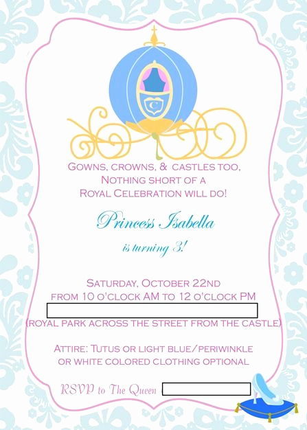 Cinderella Invitation Template Free Lovely Cinderella Party Bella S Invitation