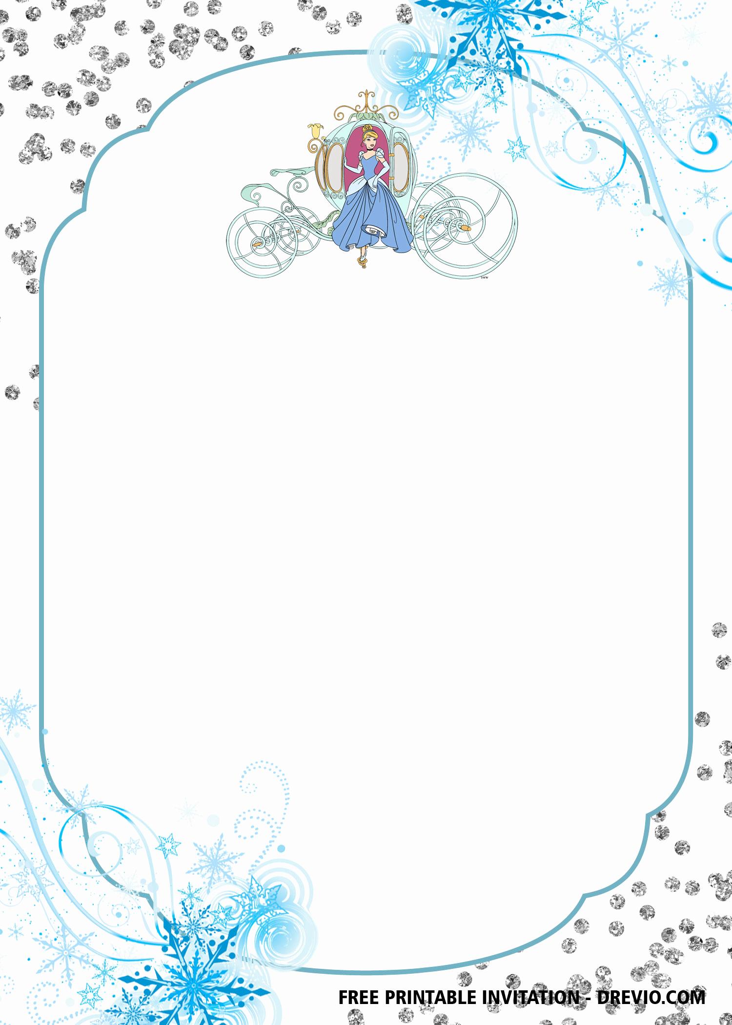 free printable cinderella chariot disney invitation templates