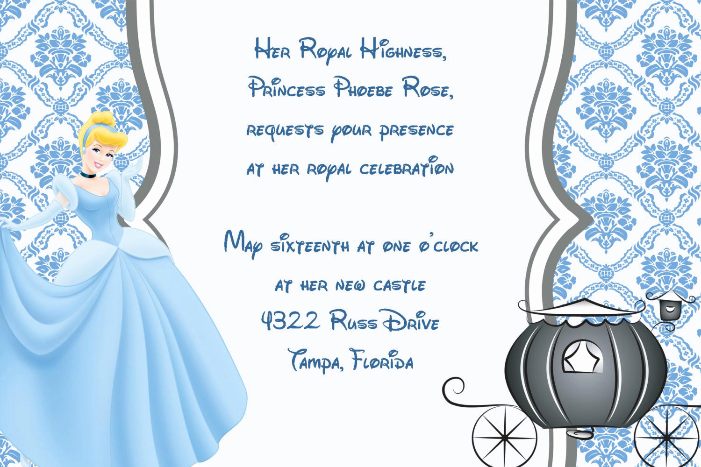 Cinderella Invitation Template Free Luxury Girls Cinderella Princess Printable Birthday Party Invitation