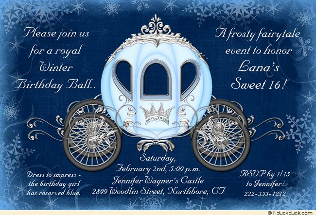 Cinderella Invitation to the Ball Awesome Cinderella Winter Ball Invitation Royal Birthday Sweet