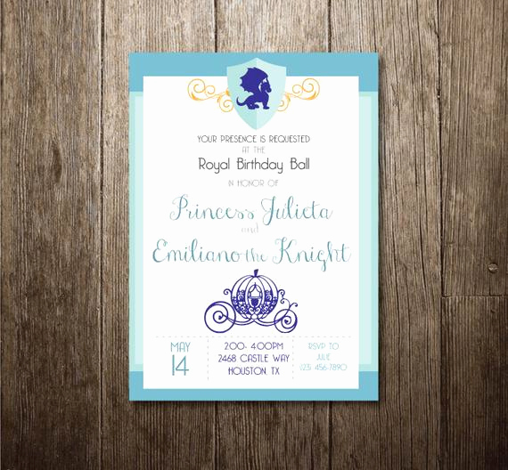 Cinderella Invitation to the Ball Awesome Princess & Knight Invitation Royal Ball Invitation