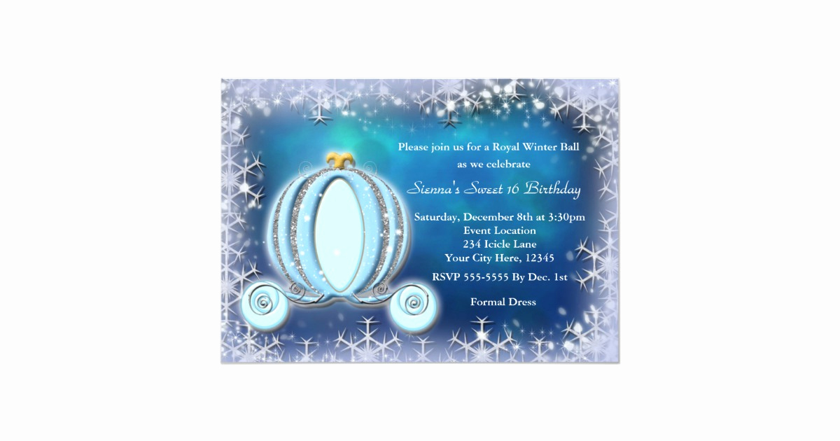 Cinderella Invitation to the Ball Best Of Winter Ball Cinderella Carriage Royal Invitation
