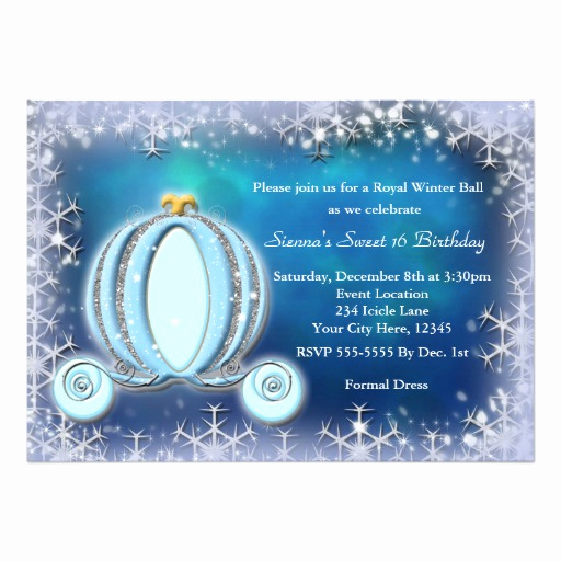 "Cinderella Invitation to the Ball Fresh Winter Ball Cinderella Carriage Royal Invitation 5"" X 7"