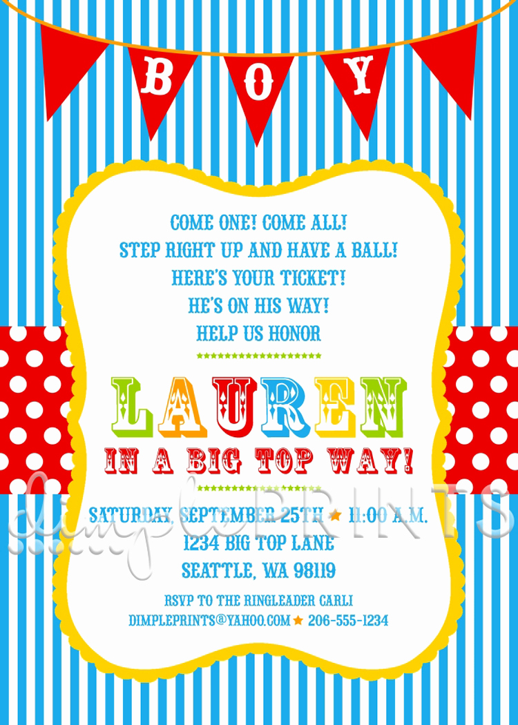 Circus Baby Shower Invitation Awesome Circus Carnival Shower Invitation Dimple Prints Shop
