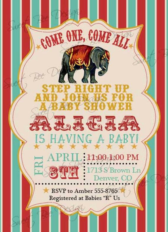Circus Baby Shower Invitation Best Of Circus Baby Shower Invitation Circus Birthday Invitation