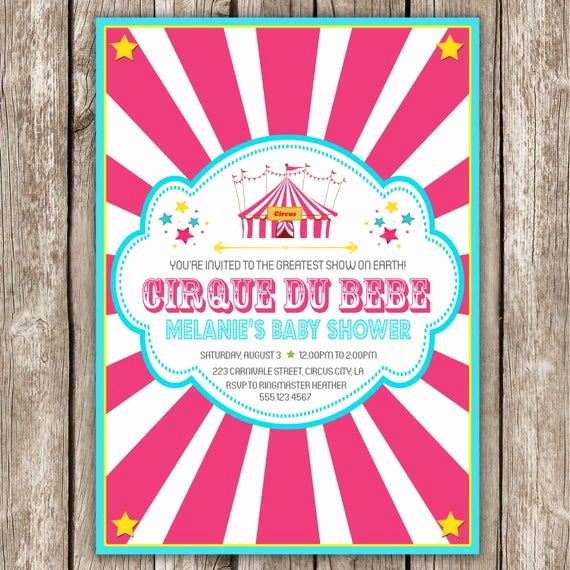 Circus Baby Shower Invitation Best Of Circus Baby Shower Invitation Pink Cirque by