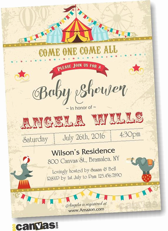 Circus Baby Shower Invitation Elegant Circus Baby Shower Invitation Carnival theme Gender