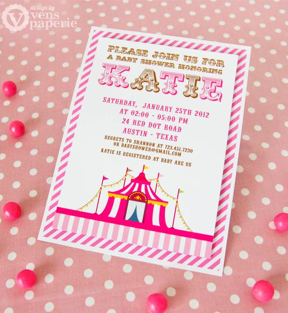 Circus Baby Shower Invitation Elegant Diy Printable Invitation Card Vintage Pink Circus