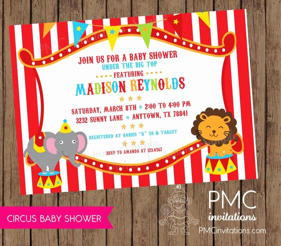 Circus Baby Shower Invitation Fresh Circus Baby Shower Invitations 1 00 Each with Envelope