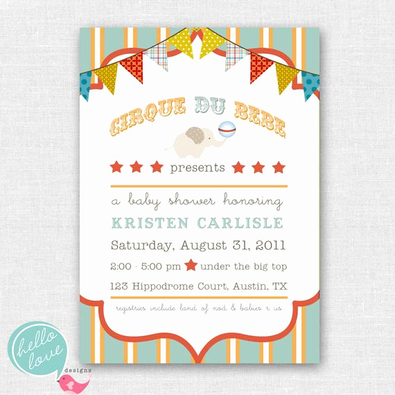 Circus Baby Shower Invitation Fresh Cirque Du Bebe Circus Baby Shower Invitation by
