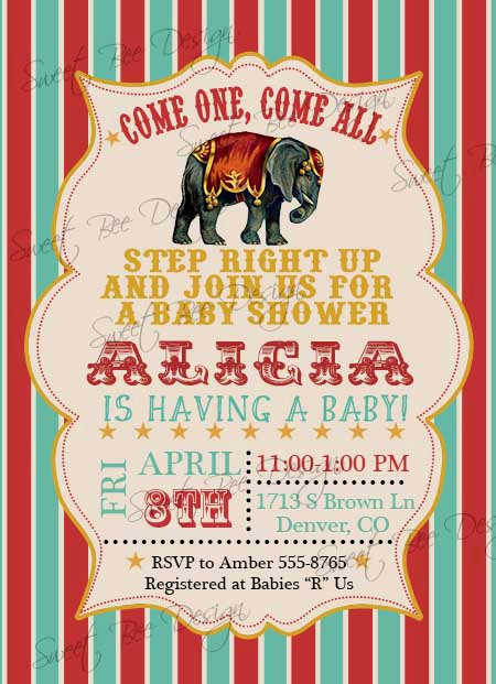 Circus Baby Shower Invitation Inspirational Circus Baby Shower Invitation Circus Birthday Invitation