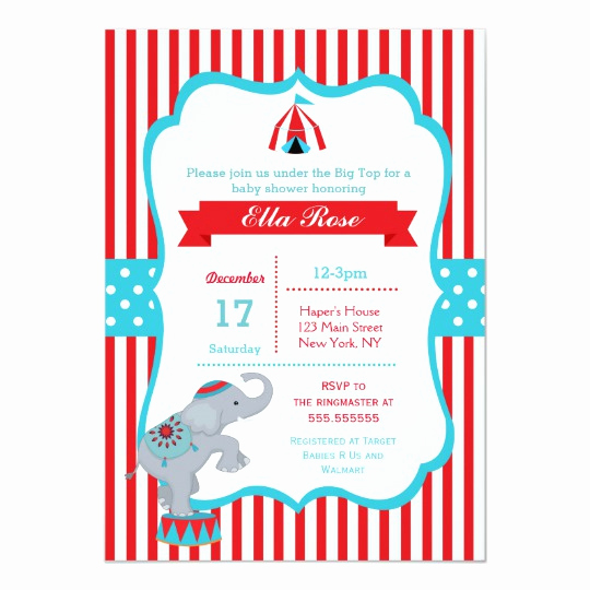 Circus Baby Shower Invitation Inspirational Circus Carnival Big top Baby Shower Invitations