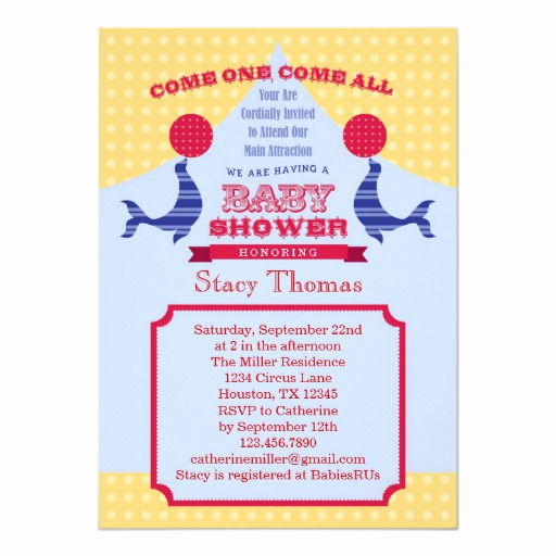 Circus Baby Shower Invitation Lovely Circus Baby Shower Invitation