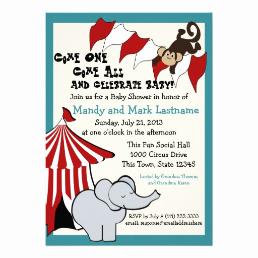 Circus Baby Shower Invitation Lovely Circus Baby Shower Invites