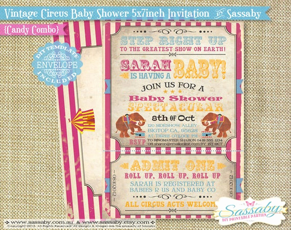Circus Baby Shower Invitation Lovely Vintage Circus Baby Shower Invitation Instant Download by