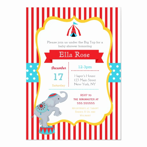 Circus Baby Shower Invitation Luxury Circus Carnival Baby Shower Invitations