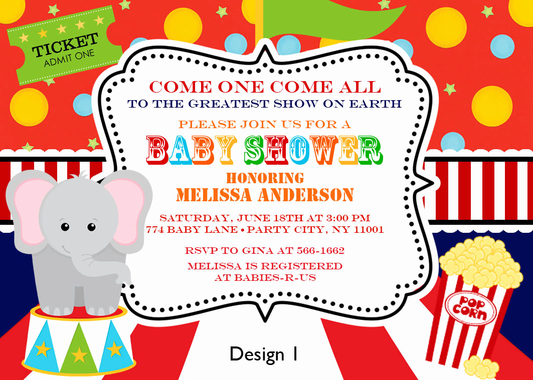 Circus Baby Shower Invitation Luxury Custom Personalized Circus Carnival Big top Baby by