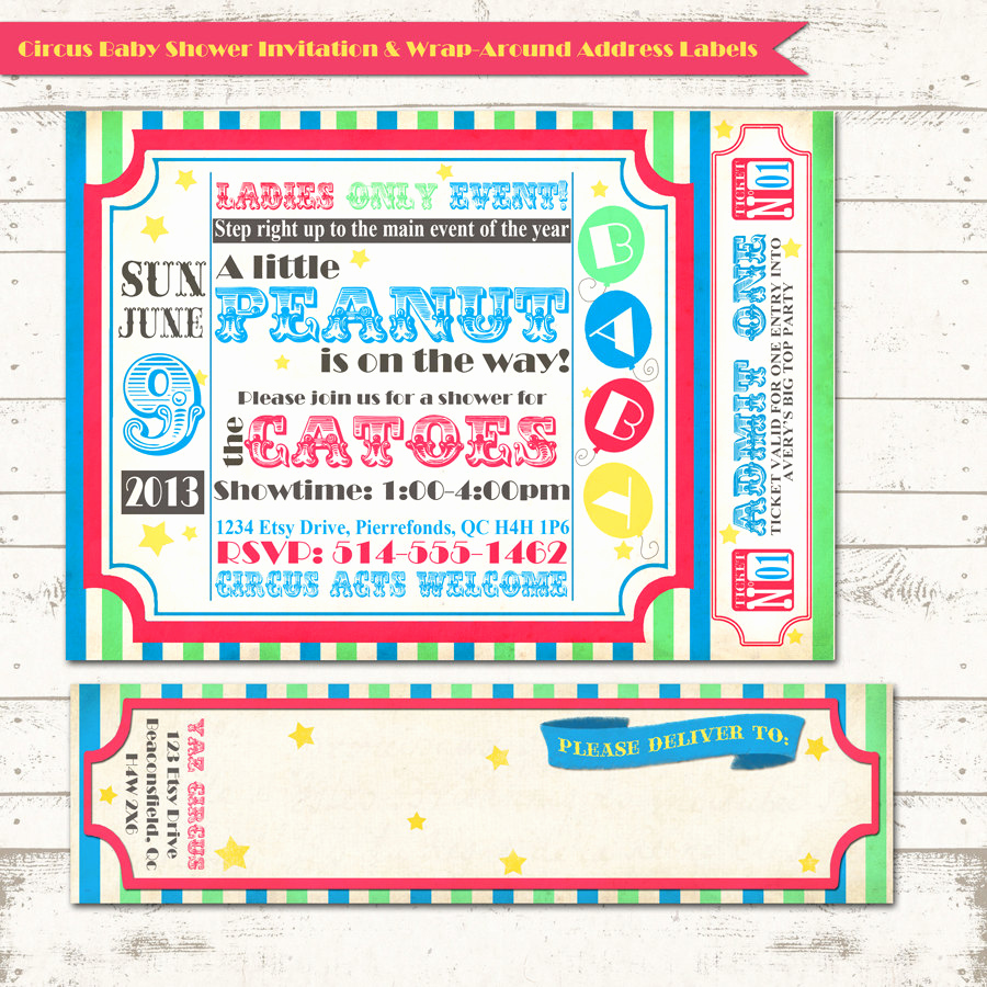 Circus Baby Shower Invitation Unique Circus Baby Shower Invitation with Wrap Around Address Labels