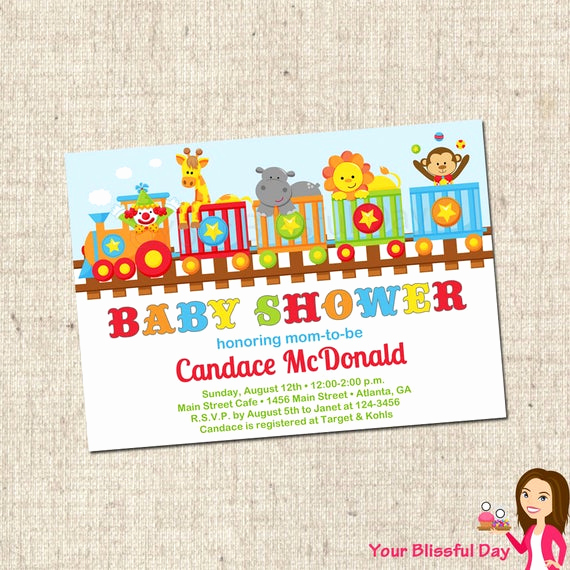 Circus Baby Shower Invitation Unique Printable Circus Train Baby Shower Invitations by